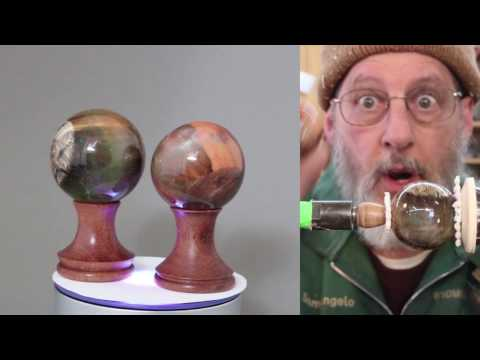Turning a Cast Resin Sphere    Sam Angelo, wyomingwoodturner