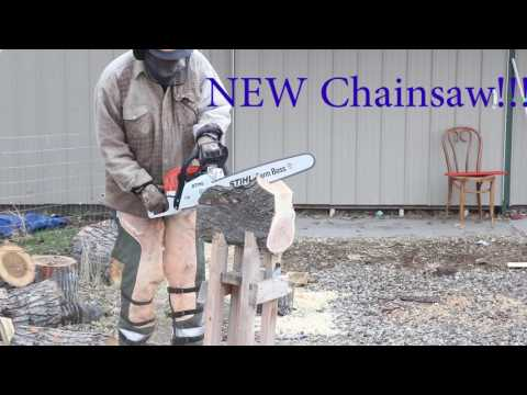 Milling logs into bowl blanks using a Chainsaw:  Sam Angelo the WYOMINGWOODTURNER